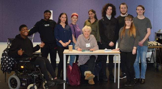 Acting students pictured with course leader and former Emmerdale actress Aly Spiro