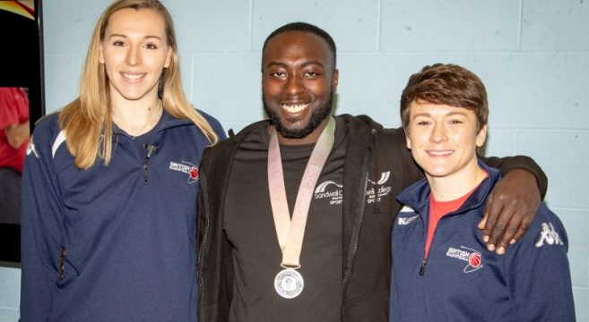 Team GB basketball players Mollie Campbell & Stef Collins pictured with Sport Lecturer