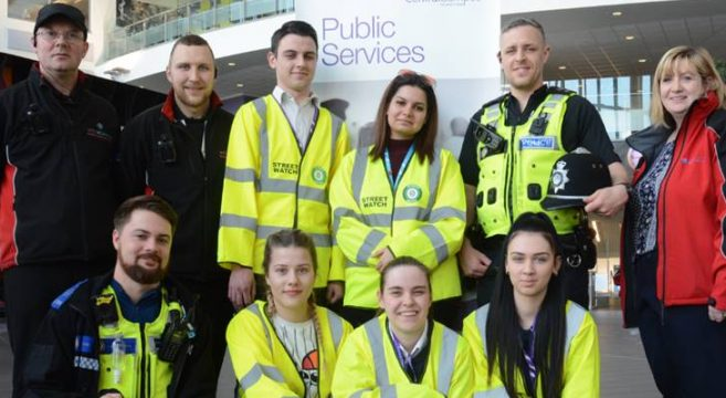 Public Services Students with police officers and security team