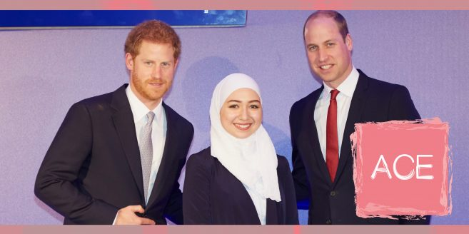 Engineering student Maya Ghazal pictured with Princes William and Harry