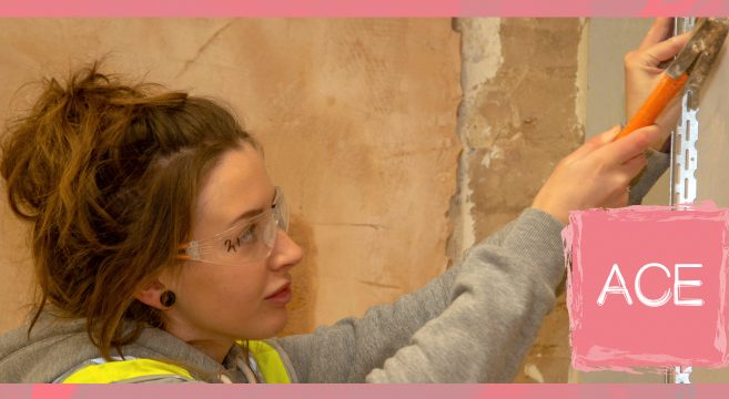 Female construction student in a workshop