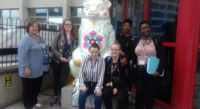 Students pictured outside Birmingham Women's Hospital