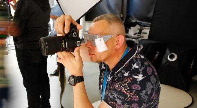 Photographer wearing protective glasses