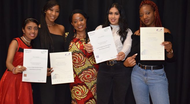 Students from Sandwell College's Access Course with their certificates