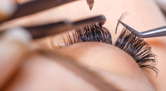 An image of single eyelash extensions application