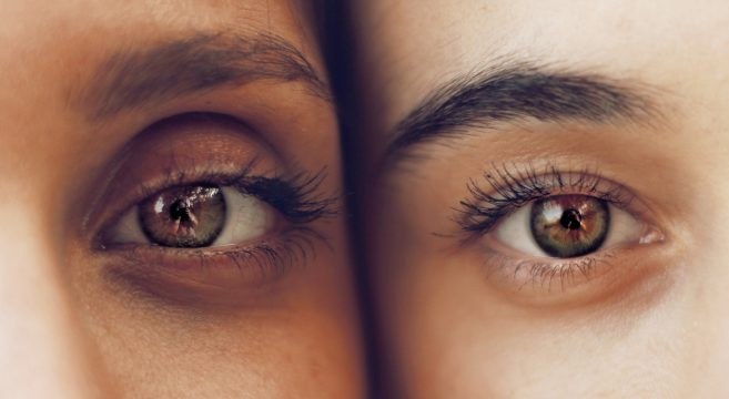 Image of two people and focus on eyebrows