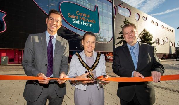Ribbon cutting ceremony at Central Saint Michael's Sixth Form