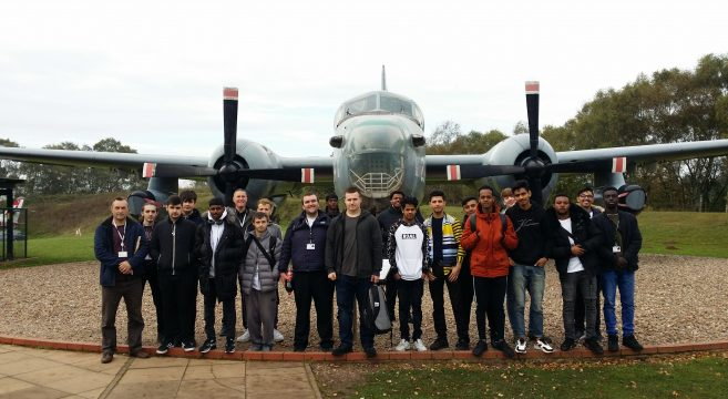 Group of students pictured at RAF Cosford