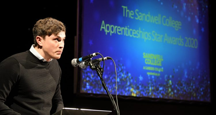 James Brown giving speech at The Sandwell College Apprenticeships Star Awards 2020