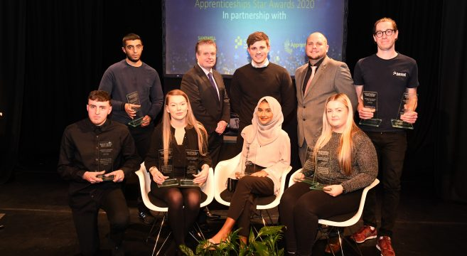 Apprentices with Principal Graham Pennington, James Brown and Councillor Danny Millard