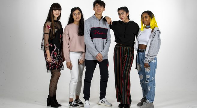 Group of students in photography studio