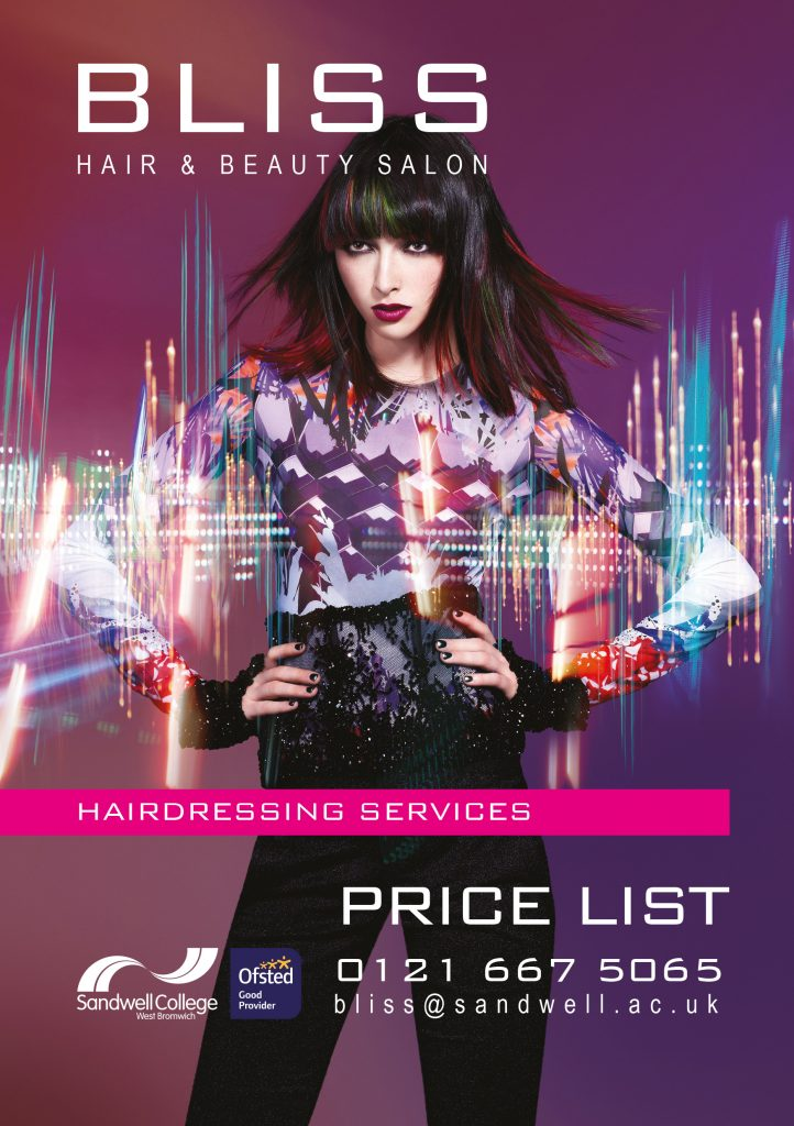 Bliss Salon Hairdressing Services Price List