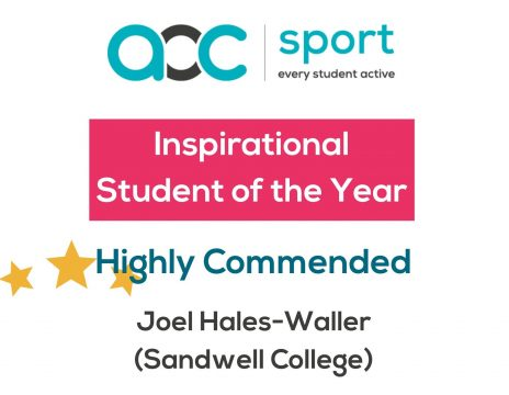 Inspirational Student of the Year certificate