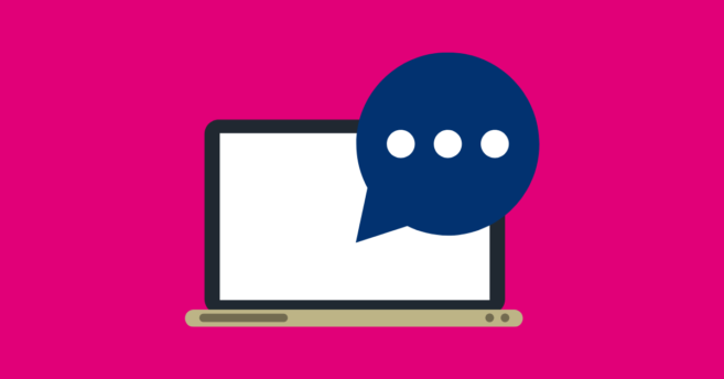Pink background with laptop showing navy blue speech bubble