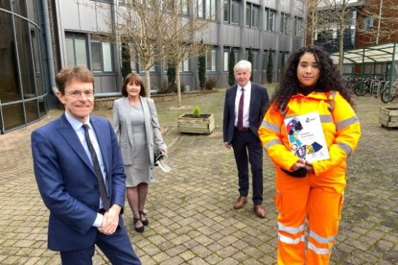 Mayor of the West Midlands Andy Street, Rose Rees, head of engagement and skills at Midland Metro Alliance, Lowell Williams, Chair of Colleges West Midlands, and learner Iman Khan