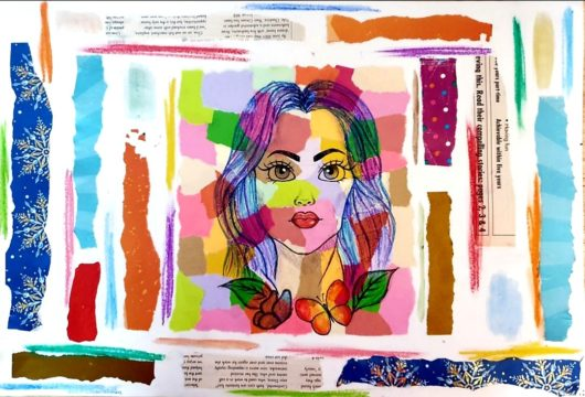A student's brightly coloured collage