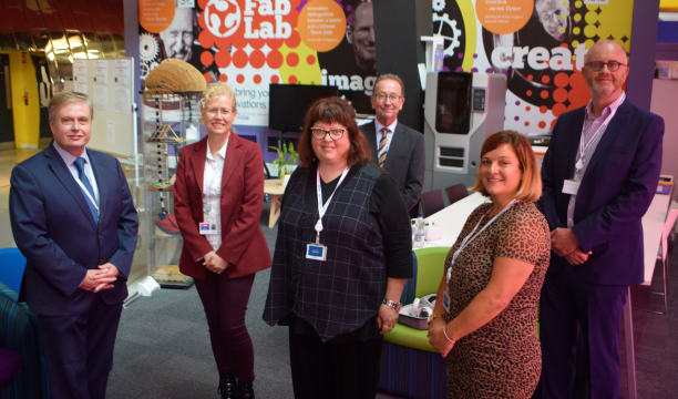 Group of staff and visitors outside the Fab Lab